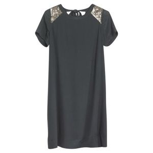 MADEWELL Gray Silk Yoke Embellished Shift Dress